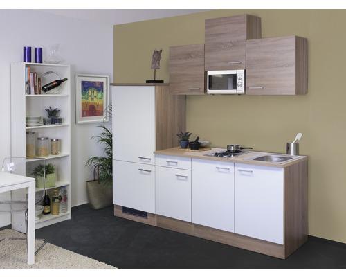 Küchenzeile Samoa 210 cm inkl. Einbaugeräte weiß/sonoma eiche