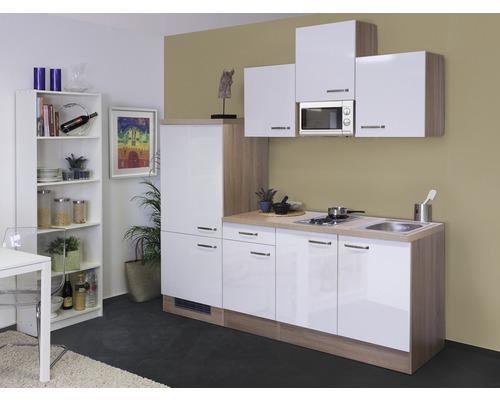 Küchenzeile Valero 210 cm inkl. Einbaugeräte weiß hochglanz