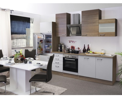 Küchenzeile Samoa 280 cm inkl. Einbaugeräte weiß/sonoma eiche