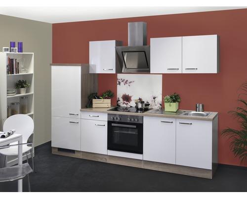 Küchenzeile Valero 270 cm inkl. Einbaugeräte weiß glänzend/sonoma eiche