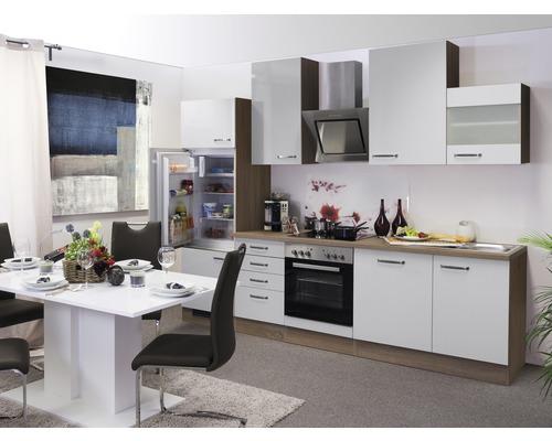 Küchenzeile Valero 280 cm inkl. Einbaugeräte weiß glänzend/sonoma eiche
