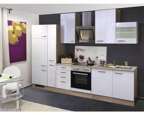 Küchenzeile Valero 310 cm inkl. Einbaugeräte weiß glänzend/sonoma eiche