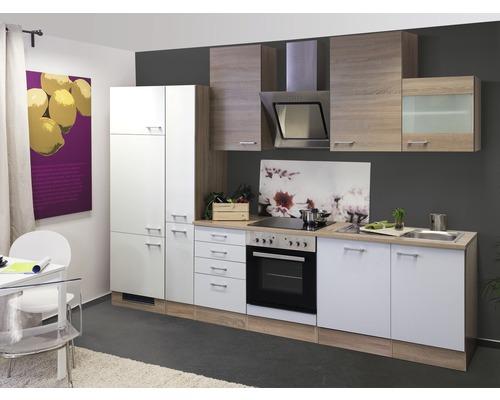 Küchenzeile Samoa 310 cm inkl. Einbaugeräte weiß/sonoma eiche