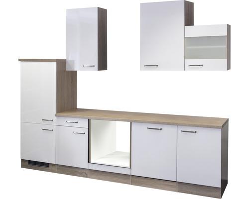 Küchenleerblock Valero 280 cm weiß glänzend/sonoma eiche