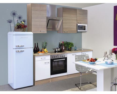 Küchenzeile Samoa 220 cm inkl. Einbaugeräte weiß/sonoma eiche
