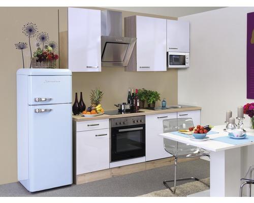 Küchenzeile Valero 220 cm inkl. Einbaugeräte weiß glänzend/sonoma eiche