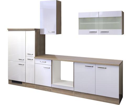 Küchenleerblock Valero 300 cm weiß glänzend/sonoma eiche