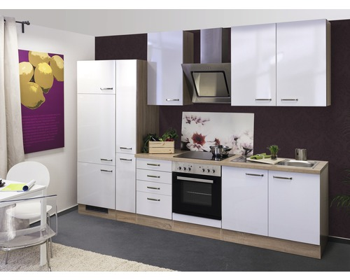 Küchenzeile Valero 300 cm inkl. Einbaugeräte weiß glänzend/sonoma eiche