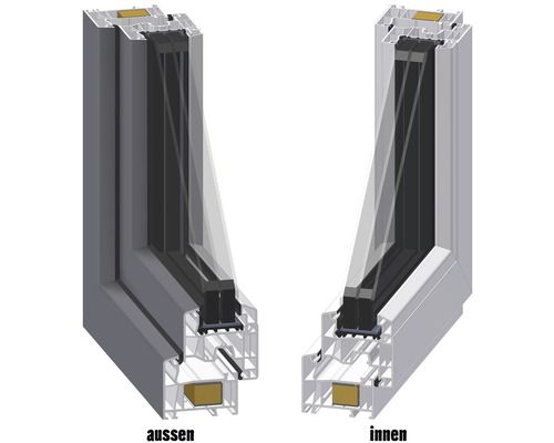 Kunststofffenster 1-flg ARON Basic weiß//anthrazit 1150x1200 mm DIN Links