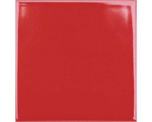 Steingut Wandfliese Plain rot glänzend 15 x 15 cm