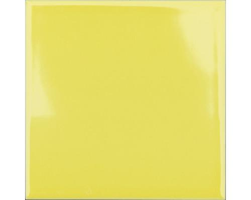 Steingut Wandfliese Plain gelb glänzend 15 x 15 cm