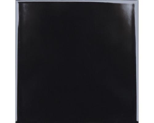 Steingut Wandfliese Plain schwarz glänzend 20x20 cm
