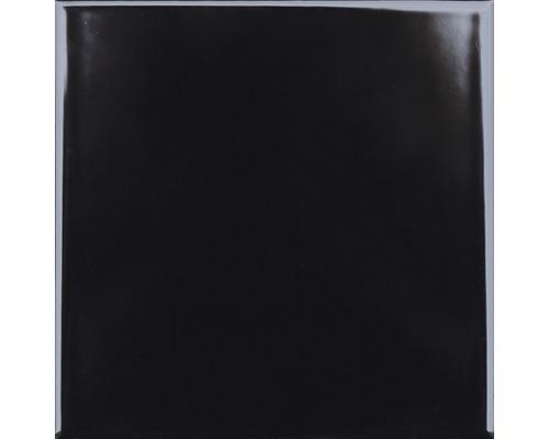Steingut Wandfliese Plain schwarz glänzend 15 x 15 cm