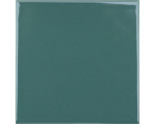 Steingut Wandfliese Plain grün glänzend 15 x 15 cm