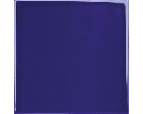 Steingut Wandfliese Plain blau glänzend 15 x 15 cm