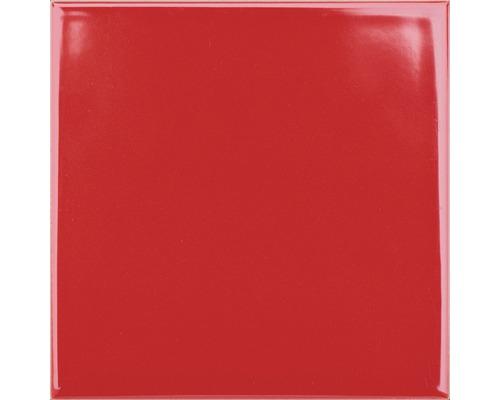 Steingut Wandfliese Plain rot glänzend 20 x 20 cm