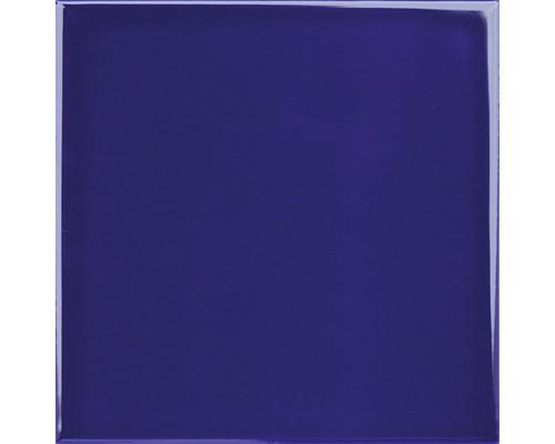 Steingut Wandfliese Plain blau glänzend 20 x 20 cm