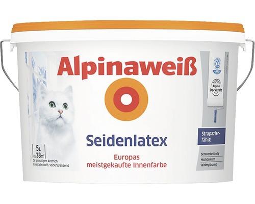 Alpinaweiß Latexfarbe seidenlatex weiß 5 l