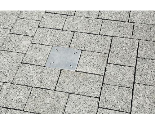 Universal-Bodenplatte zum Einbetonieren 16 x 16 cm verzinkt