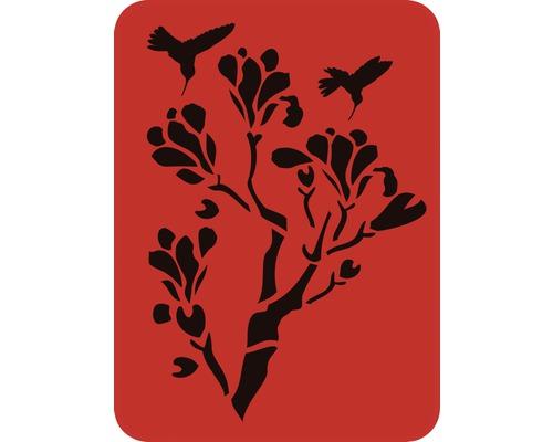 Dekorschablone Baum mit Vögel 56 x 43 cm