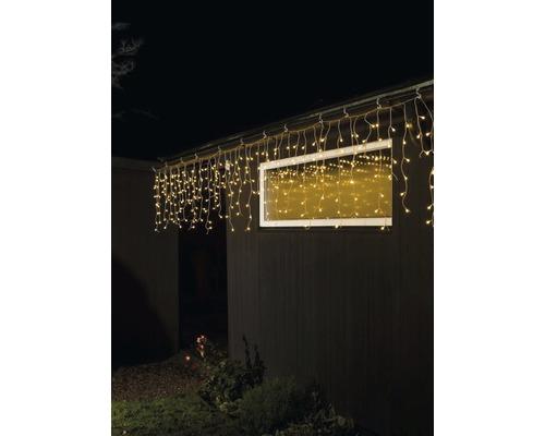 Eisregen Lichterkettenvorhang Konstsmide 200 LEDs Lichtfarbe bernstein transparentes Kabel