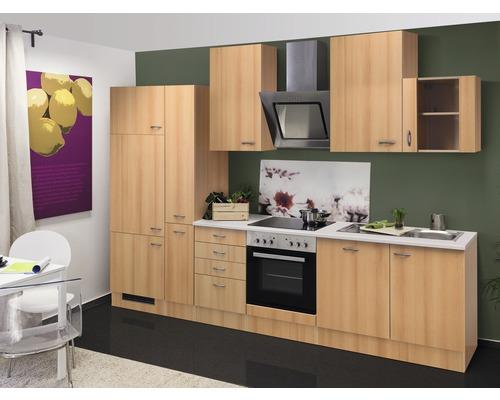 Küchenzeile Nano 310 cm inkl. Einbaugeräte buche-dekor