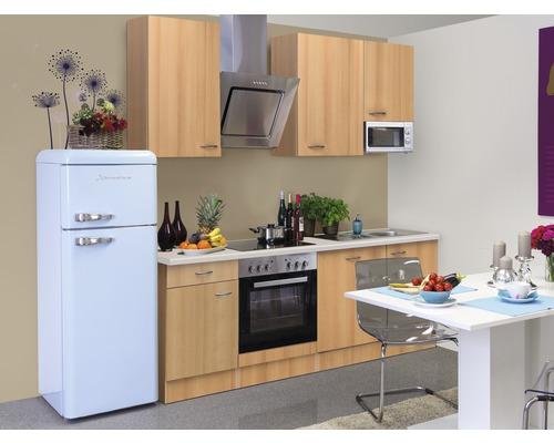 Küchenzeile Nano 220 cm inkl. Einbaugeräte buche-dekor