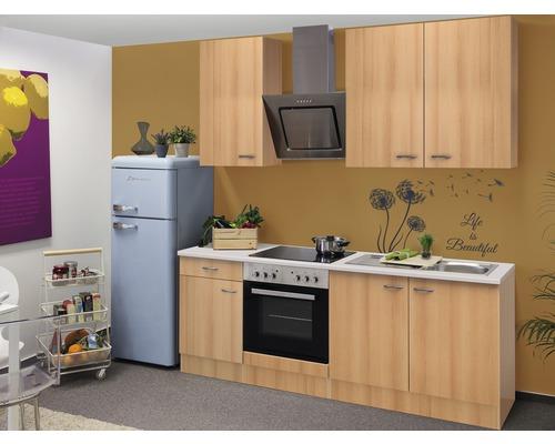 Küchenzeile Nano 210 cm inkl. Einbaugeräte buche-dekor