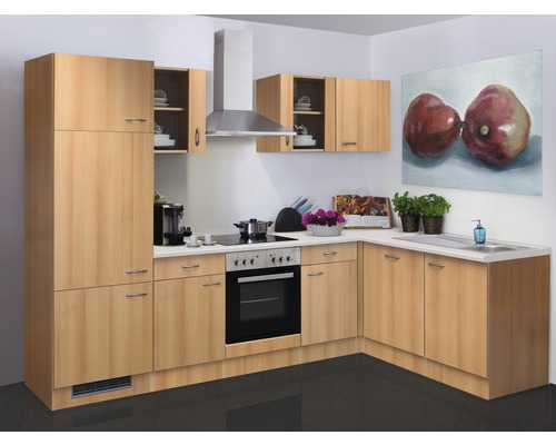 Winkelküche Nano 280x170 cm inkl. Einbaugeräte buche-dekor