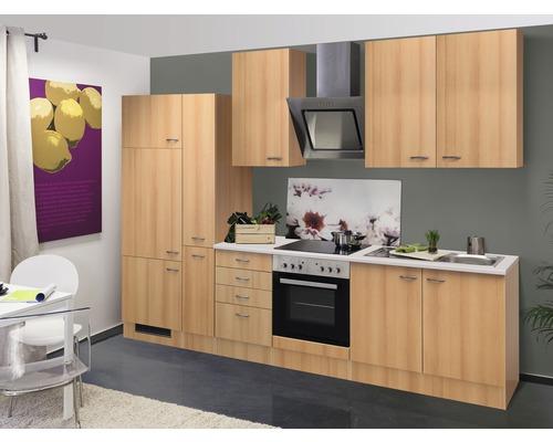 Küchenzeile Nano 300 cm inkl. Einbaugeräte buche-dekor