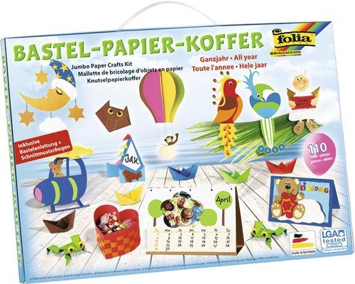 Kreativset Bastel-Papier-Koffer Ganzjahr 110-teilig