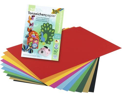 Tonpapierblock DIN A4 bunt 20 Blatt