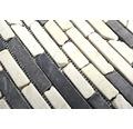 Natursteinmosaik MOS Brick 115 schwarz/beige 30,5x30,5 cm
