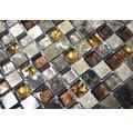 Glasmosaik mit Naturstein XCM M790 braun/beige 30x30 cm