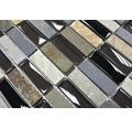 Glasmosaik mit Naturstein XCM SM08 schwarz/grau 30x30 cm