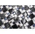 Glasmosaik XIC K1499 schwarz/silber 33,8x33,8 cm