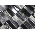 Glasmosaik mit Naturstein XCM SM58 schwarz grau 29,8x30,4 cm