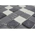 Glasmosaik mit Naturstein CM M422 30,2x32,7 cm mix grau