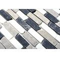 Natursteinmosaik MOS BRICK 1125 30,5x32,2 cm beige/grau/weiß