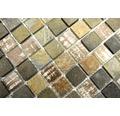 Glasmosaik mit Naturstein XCM CB 52 braun 30x32,5 cm