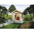 Blockbohlenhaus SKAN HOLZ Palma mit Fußboden 250 x 250 cm natur