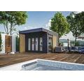 Gartenhaus SKAN HOLZ Tokio 2 mit KSK-M Dachbahn und Fußboden 340 x 340 cm grau