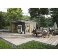 Gartenhaus SKAN HOLZ Tokio 4 mit KSK-M Dachbahn und Fußboden 402 x 402 cm grau