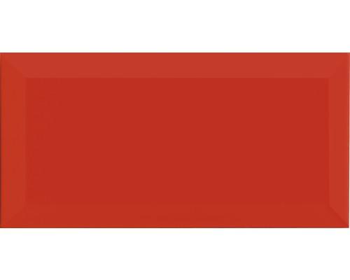 Metro-Fliese mit Facette rot glänzend 10 x 20 cm