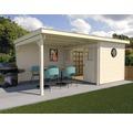 Gartenhaus weka Man Cave Play & Relax Gr.3 mit Fußboden und seitlicher Überdachung 590 x 299 cm natur