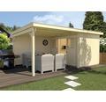 Gartenhaus weka Man Cave Play & Relax Gr.1 mit Fußboden und seitlicher Überdachung 500 x 299 cm natur