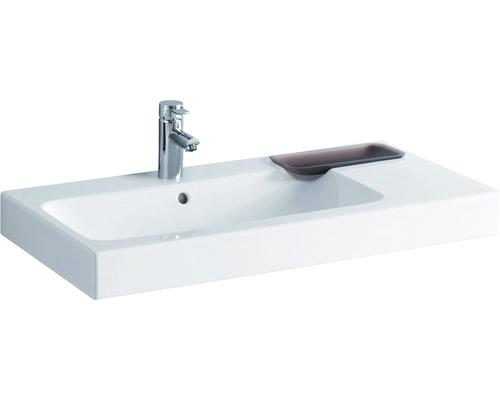 Keramag / GEBERIT Waschtisch iCon 90 cm Ablage rechts weiß mit Keratec Glasur und Dekorschale 124190600