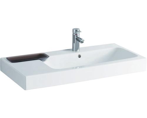 Keramag / GEBERIT Waschtisch iCon 90cm Ablage links weiß mit Keratec Glasur und Dekorschale 124195600
