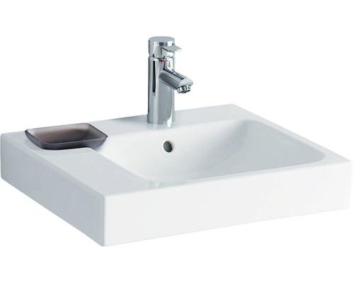 Keramag / GEBERIT Waschtisch iCon 50 cm Ablage links weiß mit Dekorschale 124150000