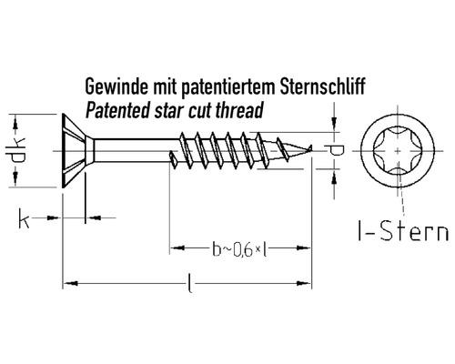 JD Plus Universalschraube Senkkopf m. I-Stern 4,0 x 40 mm, Edelstahl A2, 200 Stück